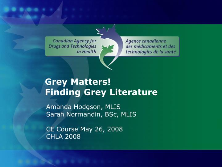 grey matters finding grey literature n.