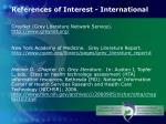 references of interest international
