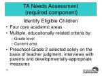ta needs assessment required component
