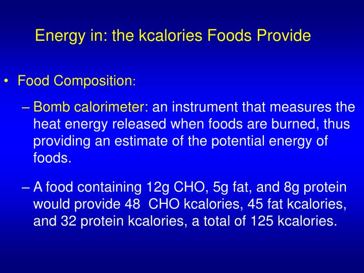 Energy in the kcalories foods provide