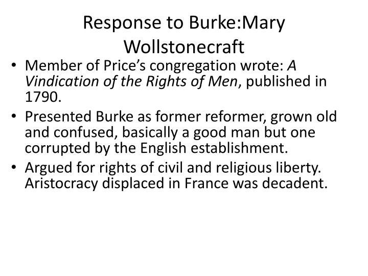 Response to Burke:Mary Wollstonecraft
