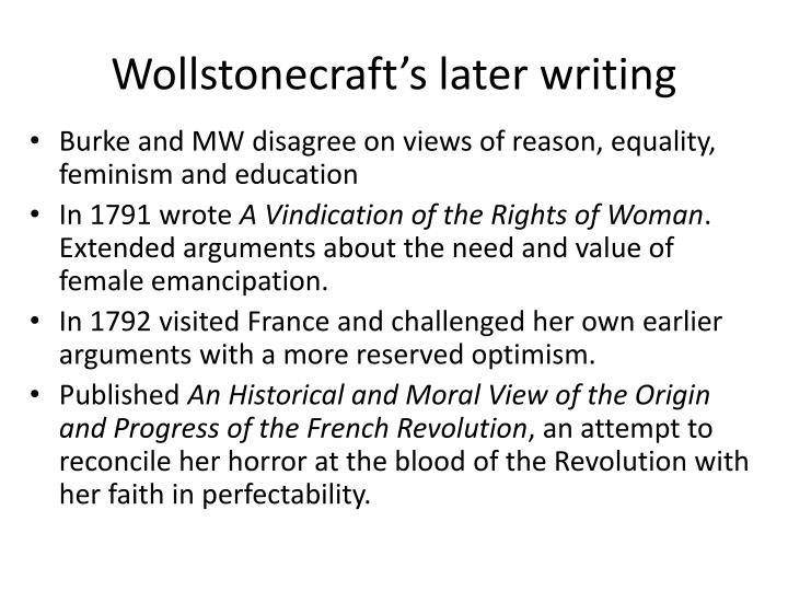 Wollstonecraft's later writing