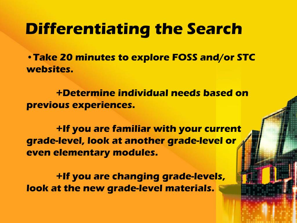 Differentiating the Search