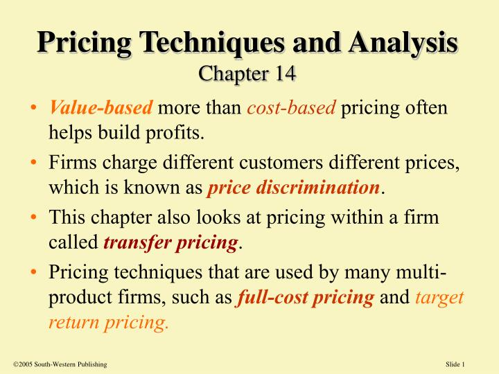 PPT - Pricing Techniques and Analysis Chapter 14 PowerPoint ...