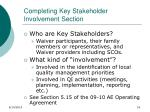 completing key stakeholder involvement section