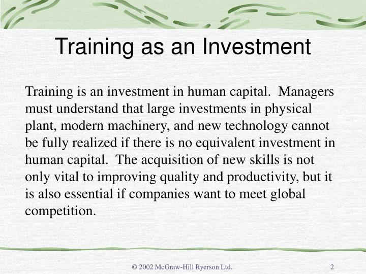 Training as an Investment