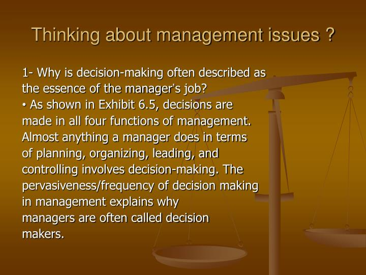 Thinking about management issues