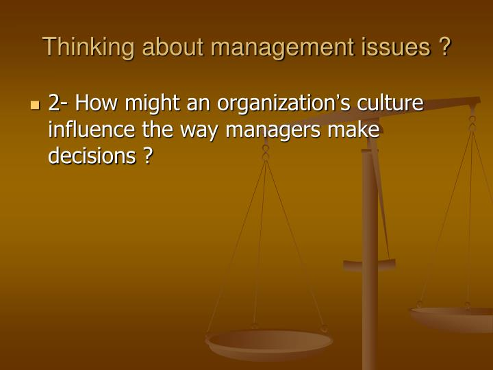 Thinking about management issues1