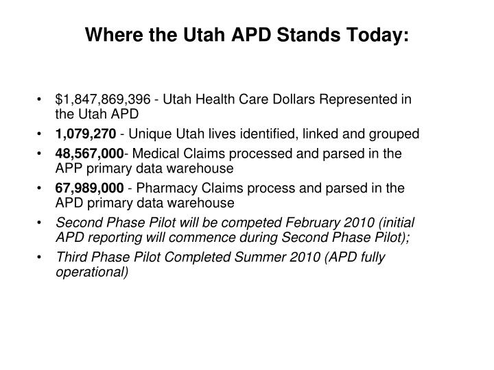 Where the Utah APD Stands Today: