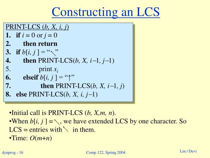 Constructing an LCS