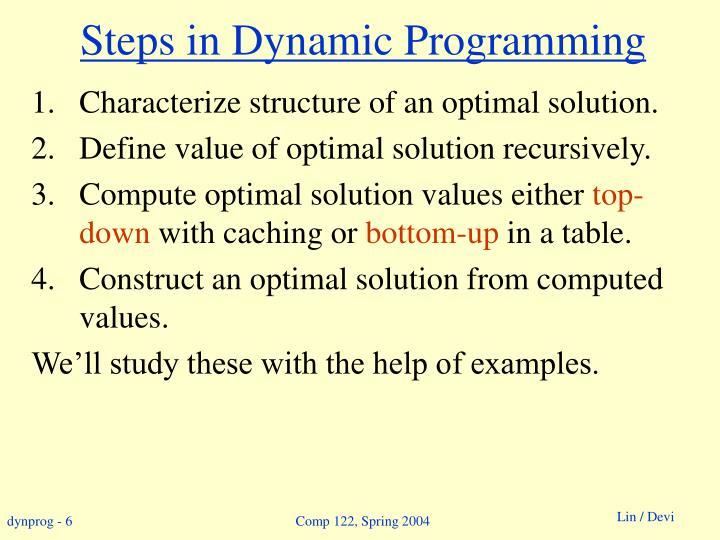 Steps in Dynamic Programming
