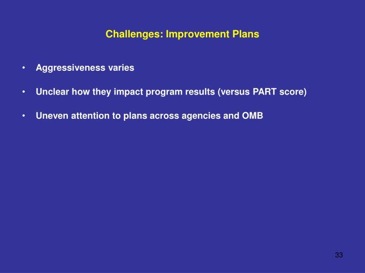 Challenges: Improvement Plans