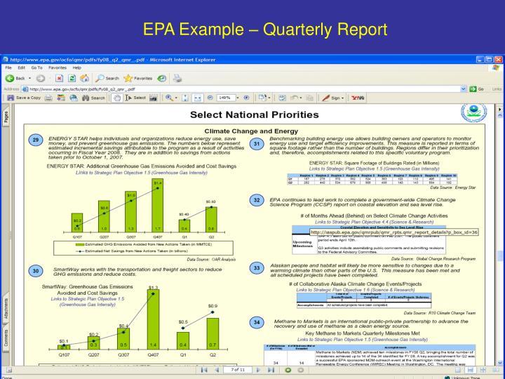 EPA Example – Quarterly Report