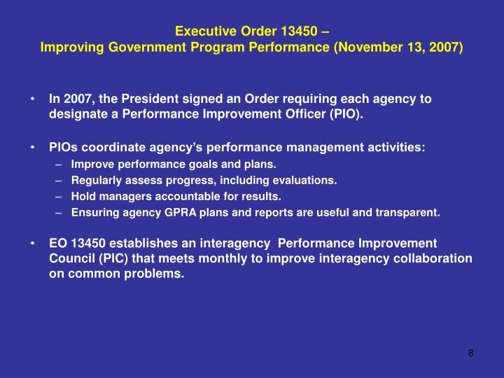 Executive Order 13450 –