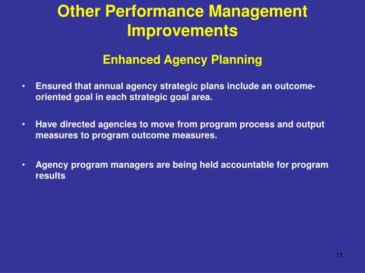 Other Performance Management Improvements
