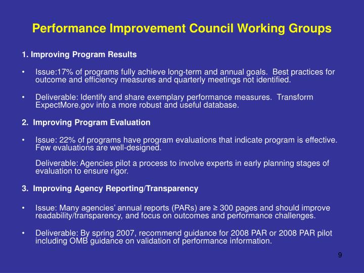 Performance Improvement Council Working Groups