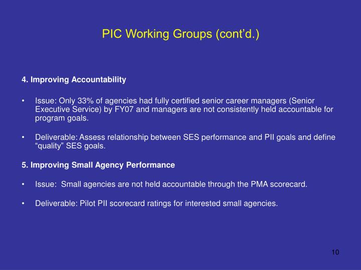 PIC Working Groups (cont'd.)