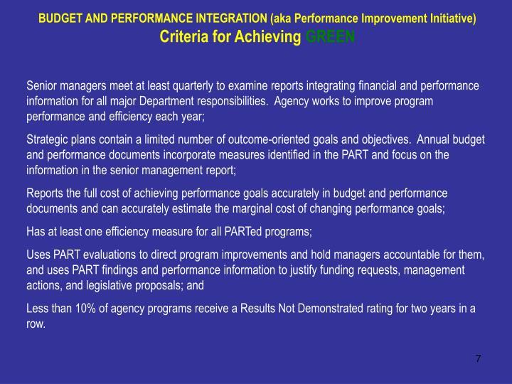 BUDGET AND PERFORMANCE INTEGRATION (aka Performance Improvement Initiative)