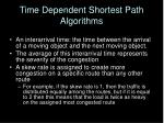 time dependent shortest path algorithms1