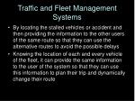 traffic and fleet management systems