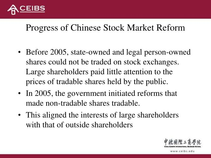 Progress of Chinese Stock Market Reform