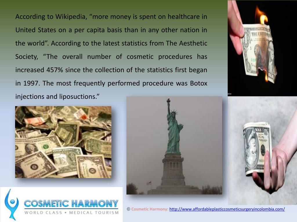"""According to Wikipedia, """"more money is spent on healthcare in United States on a per capita basis than in any other nation in the world"""". According to the latest statistics from The Aesthetic Society, """"The overall number of cosmetic procedures has increased 457% since the collection of the statistics first began in 1997. The most frequently performed procedure was Botox injections and liposuctions."""""""