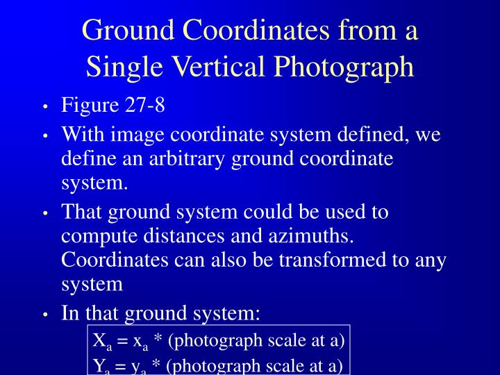 Ground Coordinates from a Single Vertical Photograph