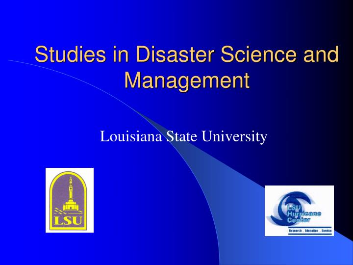 studies in disaster science and management n.