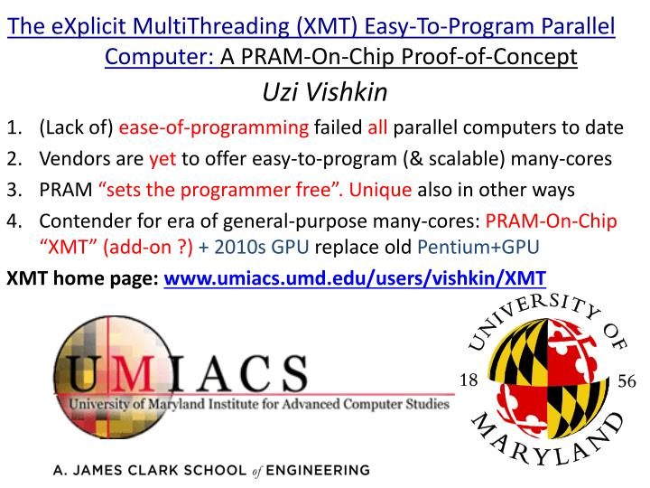 the explicit multithreading xmt easy to program parallel computer a pram on chip proof of concept n.