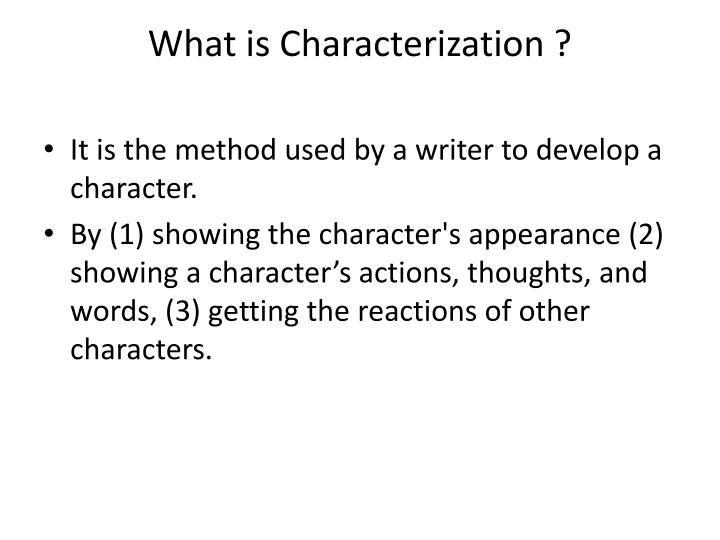 what is characterization n.