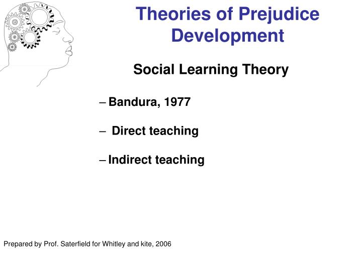 the theories of prejudice outlined by Culture, prejudice, racism, and discrimination summary and keywords prejudice is a broad social phenomenon and area of research, complicated by the fact that intolerance exists in internal cognitions but is manifest in symbol usage (verbal, nonverbal, mediated), law and policy, and social and organizational practice.