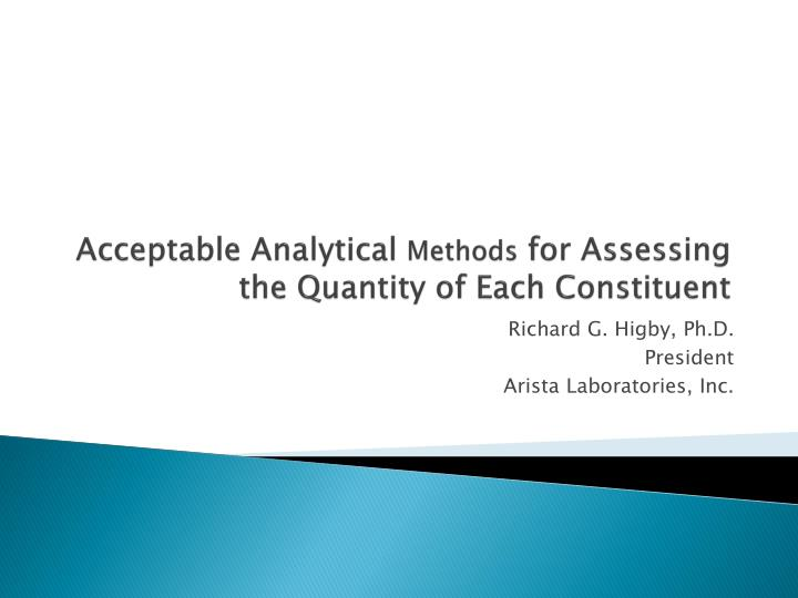 acceptable analytical methods for assessing the quantity of each constituent n.
