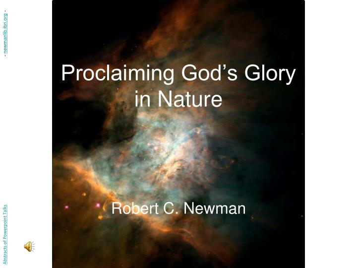 proclaiming god s glory in nature n.