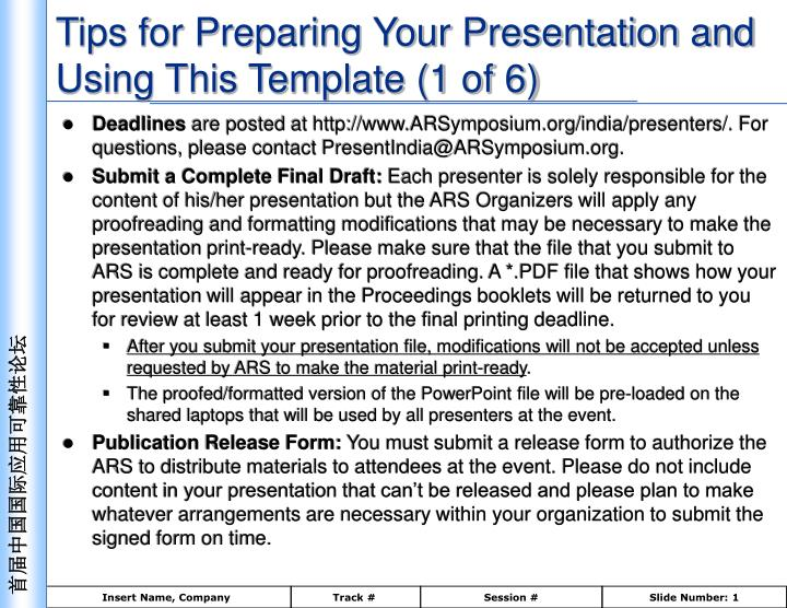 tips for preparing your presentation and using this template 1 of 6 n.