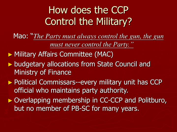 how far did the ccp control