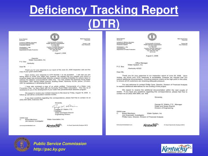 Deficiency Tracking Report