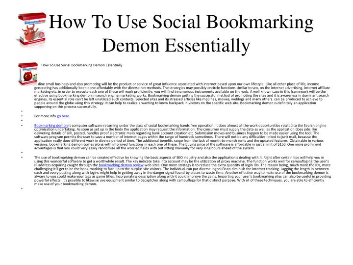 How to use social bookmarking demon essentially