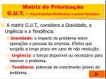 matriz de prioriza o g u t para priorizar problemas a serem tratados