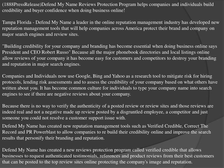 (1888PressRelease)Defend My Name Reviews Protection Program helps companies and individuals build cr...