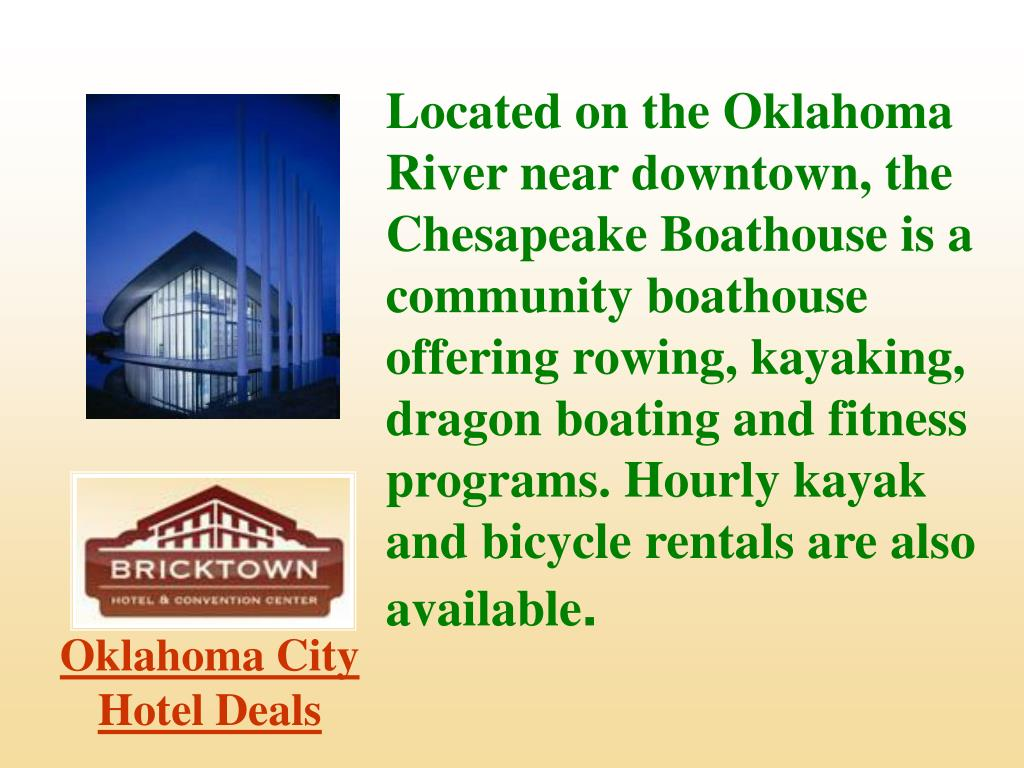 Located on the Oklahoma River near downtown, the Chesapeake Boathouse is a community boathouse offering rowing, kayaking, dragon boating and fitness programs. Hourly kayak and bicycle rentals are also available