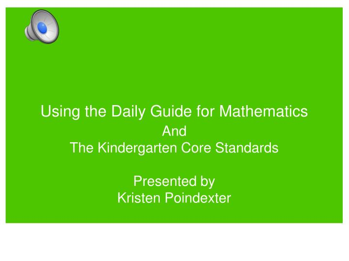 using the daily guide for mathematics n.