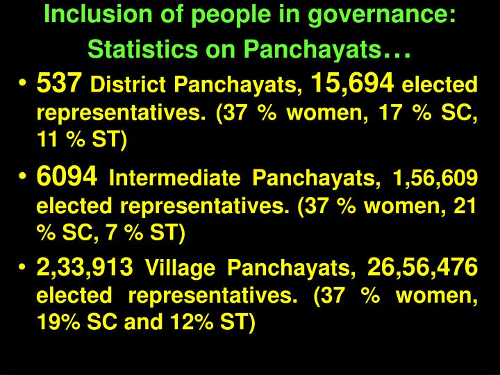 Inclusion of people in governance: Statistics on Panchayats