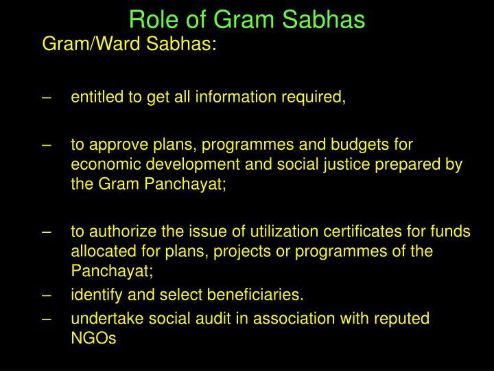 Role of Gram Sabhas