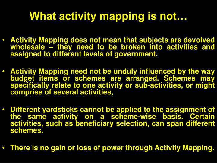 What activity mapping is not…