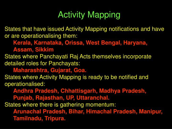 States that have issued Activity Mapping notifications and have or are operationalising them: