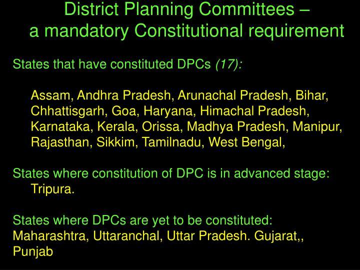 States that have constituted DPCs