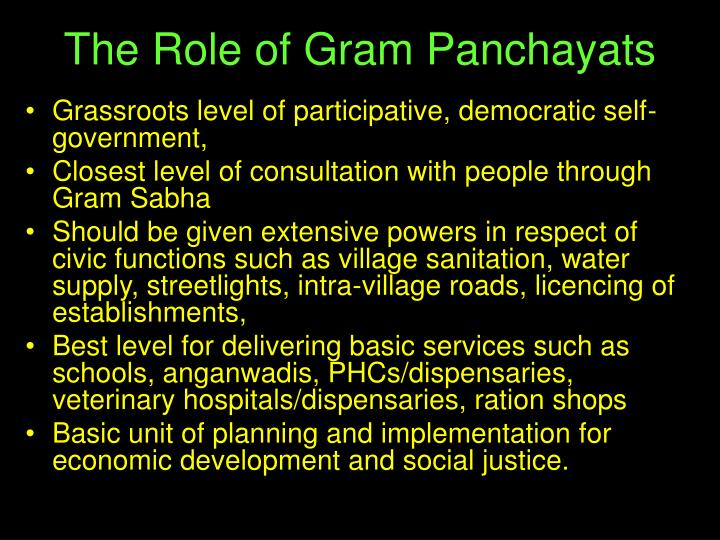 The Role of Gram Panchayats