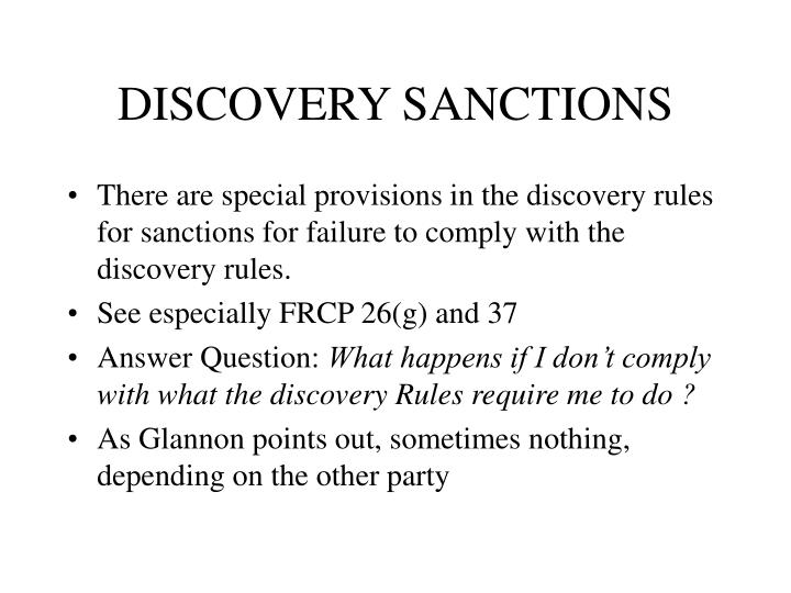 DISCOVERY SANCTIONS