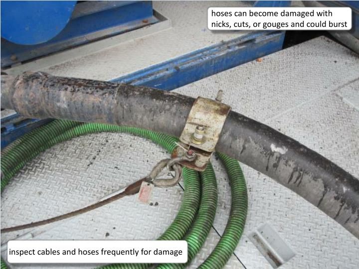 hoses can become damaged with nicks, cuts, or gouges and could burst