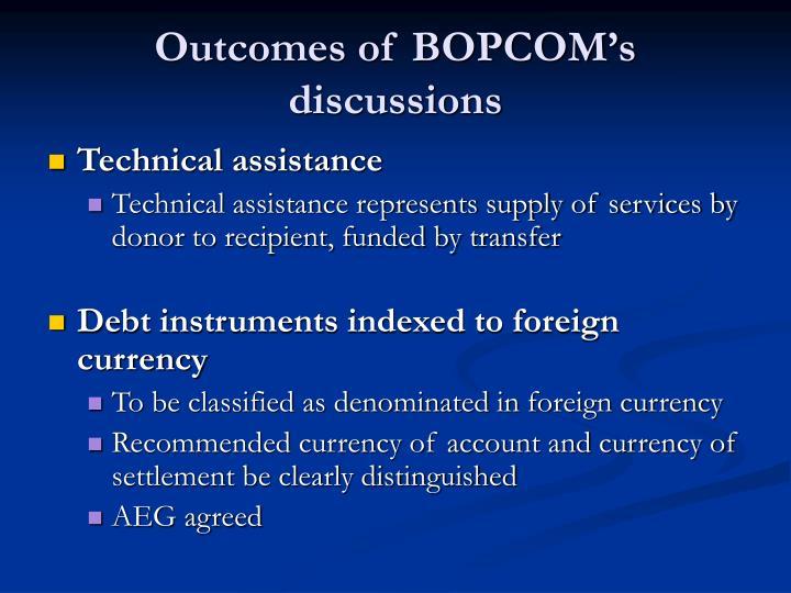 Outcomes of bopcom s discussions1